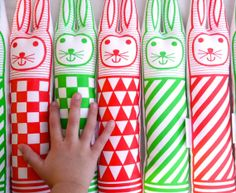 """Geometric Bunny Rabbit by Jane Foster Screen Printed by Janefoster ~ """"These fun rabbits have been designed by Jane at home in her studio.They've been professionally screen printed here in the UK and have been handmade here in Totnes, Devon."""" #Easter"""