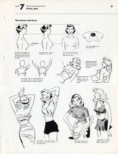 """Lesson 7: Cartoon Course - Pretty Girls """"The true proportion of the breast to the figure. The nipples are a little more than two heads below the top of the head. For cartoon girls, raise the nipples up to two heads"""""""