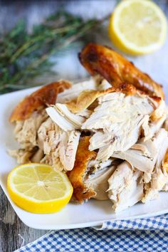 Roast chicken smells great fresh out of the oven. Rub the chicken with lemon and herbs for extra flavor.