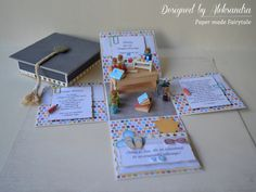Chemistry graduation exploding box detail - Easy Crafts for All Card In A Box, Pop Up Box Cards, Teacher Birthday Card, Pop Up Karten, Exploding Box Card, How To Make Scrapbook, Class Decoration, Crafts For Girls, Scrapbooking