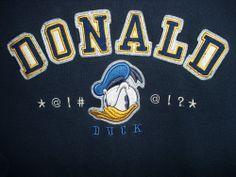 Donald Duck Swearing Sweatshirt Disney Store Size M Navy Blue