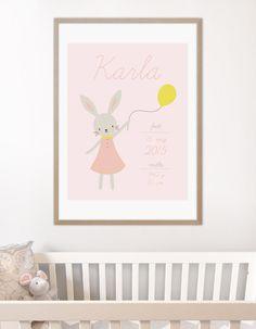Personal birth poster with a cute bunny | Personlig fødselstavle plakat med kanin med ballon