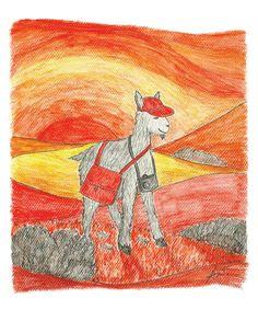 Billy Goat on the go, Children's art print, Nursery Art, Animal Illustration, Animal Art