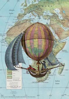 Hot Air Balloon - vintage map print