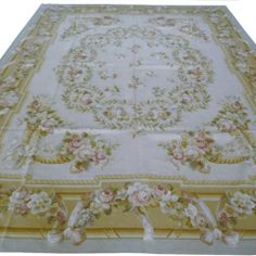 9' x 12' Hand-Woven Wool French Aubusson Flat Weave Rug New Free Shipping