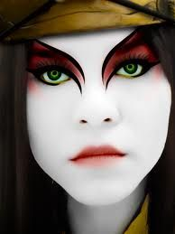 Kyoshi warriors paint their faces. It's a tradition, and an honor for the warriors. But apparent the make up is not waterproof. Just ask River.