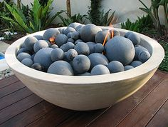 Half Moon Fire Bowl in Light Sand - Ernsdorf Design | Concrete Fire Pit Bowls, Furniture and Art