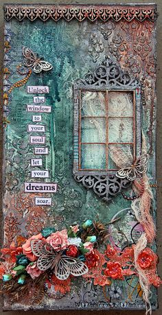 Let Your Dreams Soar on Canvas. A mixed media canvas by Michelle Grant. - Let Your Dreams Soar on Canvas. A mixed media canvas by Michelle Grant. Kunstjournal Inspiration, Art Journal Inspiration, Altered Canvas, Altered Art, Altered Books, Altered Tins, Mix Media, Mixed Media Collage, Mixed Media Canvas