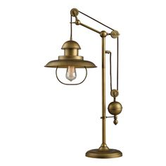 Farmhouse 1-Light Table Lamp in Antique Brass