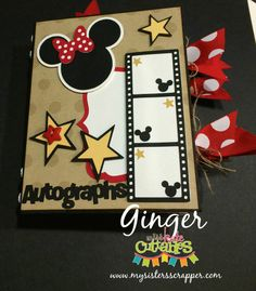 Hello Everyone! Welcome to Day 3 of our Miss Kate Cuttables and Xyron Co-Hop! We are filling you up with inspirational projects . Disney Cards, Disney Diy, Disney Mickey, Disney Scrapbook Pages, Mini Scrapbook Albums, Scrapbooking Layouts, Mini Albums, Mini Album Scrap, Autograph Book Disney