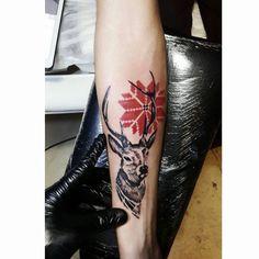deer tattoo ukrain pattern artist tayfun bezgin