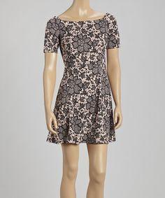 Look at this #zulilyfind! Pale Pink & Black Floral Skater Dress by Ariel #zulilyfinds