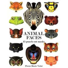 Super Cute book of animal face, paper masks including fox, cat, elephant, frog and more