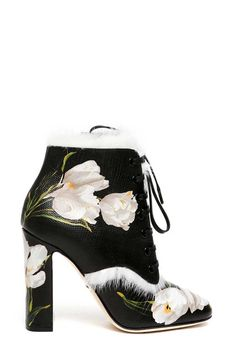 10/8/16 DOLCE & GABBANA 'Tulips' printed leather ankle boots