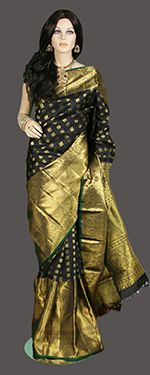 Long border traditional black kanjeevaram saree