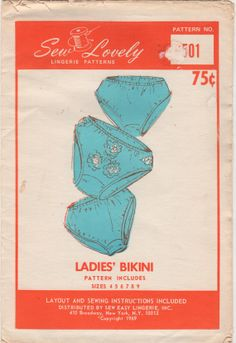 Sew Lovely P501 1960s Misses Bikini PANTIES  Pattern womens vintage lingerie sewing pattern by mbchills