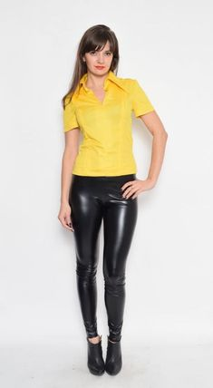 Label: n/a - Era: - Color: yellow - Fabric: polyester - Condition: Very good, clean, no tears, no rips. Ready to wear. Hot Outfits, Casual Outfits, Girly Outfits, Pretty Outfits, Bodysuit Costume, Sexy Women, Women Wear, Yellow Fabric, Color Yellow
