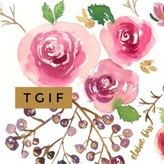 """72 Likes, 7 Comments - ElaineBiss Fashion Illustrator (@elaine.biss) on Instagram: """"TGIF everyone! - - - - - #tgif #floralfriday #flowers #watercolorillustration #watercolor #roses…"""""""