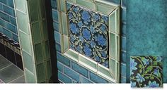 The Tapestry is a William De Morgan inspired 6x6 tile and is hand bulb glazed in six color variations. It can be used as an all over pattern or four or more can be grouped to create a striking square or rectangular focal point.