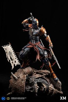 Deathstroke (samurai series) ¼ scale statue by XM Studios Dc Deathstroke, Deathstroke The Terminator, Deathstroke Cosplay, Dc Comics Art, Marvel Dc Comics, Dc Characters, Fantasy Characters, Anime Figures, Action Figures