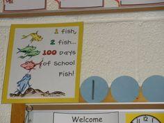 counting the days in school with dr seuss Kindergarten Classroom Organization, Kindergarten Themes, Classroom Projects, Future Classroom, Classroom Themes, 100 Day Of School Project, 100 Days Of School, New School Year, School Stuff