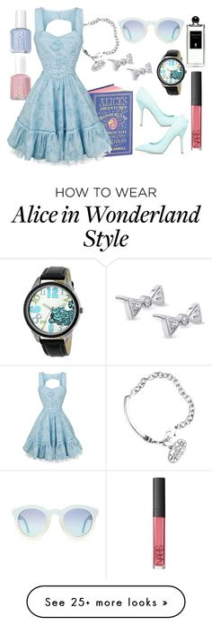 """""""Alice through the Looking Glass"""" by elliespringfa on Polyvore featuring Essie, Disney, ShoeDazzle, Kobelli, Serge Lutens and NARS Cosmetics"""