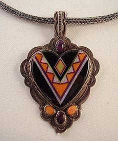 Aldrich Art Sterling Silver Inlay Heart Pendant Necklace | eBay