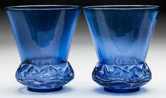 Pair of R. Lalique Navy Blue Glass Lierre Vases. Circa 1930.Stenciled R. LALIQUE, FRANCE. M p. 447, No. 1041
