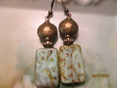 Mint green Picasso earrings by StoneworksByJan on Etsy, $15.00