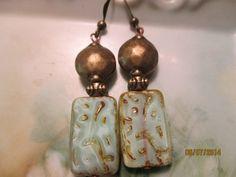 Mint green Picasso earrings by StoneworksByJan on Etsy, $15.00