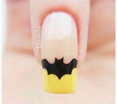 - Batman Wedding - Ideas of Batman Wedding - Batman nails! Batman Nail Designs, Batman Nail Art, Superhero Nails, Halloween Nail Designs, Halloween Nails, Nail Art Designs, Fancy Nails, Love Nails, How To Do Nails