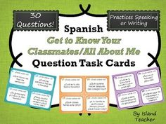 """In this speaking or writing activity, students will answer Spanish questions about themselves. Included in this set are 30 questions on cards (plus 2 blank cards for writing your own). All cards have the heading """"Todo sobre mí"""" and are designed . Questions To Get To Know Someone, Getting To Know Someone, This Or That Questions, First Day Of School Activities, Writing Activities, Spanish Classroom, Teaching Spanish, School Reviews, Spanish Lessons"""