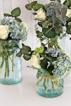 VIBEKE DESIGN – bride, wedding dresses, bridal shoes, bridal hair, bridal makeup - New Sites Table Decoration Wedding, Wedding Centerpieces, Wedding Table, Table Decorations, Flower Decoration, Blue Hydrangea Centerpieces, Diy Decoration, Centerpiece Ideas, Christmas Decorations