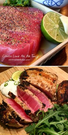 Cilantro Lime Ahi Seared Tuna: Lime juice, cilantro, garlic, paprika, cumin, pepper and olive oil. (Sauce: fat free sour cream, cilantro, jalapeno and a splash of rice wine vinegar) Ahi Tuna Steak Recipe, Seared Ahi Tuna Recipe, Ahi Tuna Recipe Healthy, Ahi Tuna Sauce, Tuna Steak Recipes, Tuna Steaks, Sashimi Tuna Recipe, Venison Recipes, Grilled Watermelon