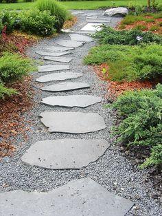 A path with stones Stone Patio Designs, Outdoor Fireplace Designs, Garden Paths, Garden Landscaping, Terraced Backyard, Country Cottage Garden, Garden Stepping Stones, Garden Images, Backyard Retreat
