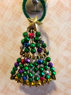 Beaded Safety Pin Christmas Tree Ornament by Jessubby