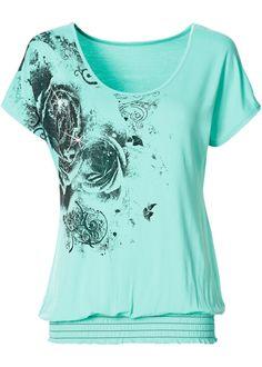 grünes Shirt ist ein echter Blickfang mit abwechslungsreichem Flowerprint auf der Vorderseite und funkelnden Steinchen