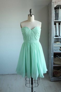 Wedding dress MINT chiffon party dress bridesmaid by RenzRags