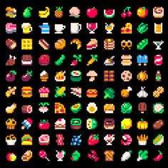 """@JUSTIN_CYR: Here's 100 8x8 food & drink sprites using the #PICO8 palette. "" ポストペットのおやつかな。"