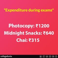 Expenditure during exam, Meme, college meme College Memes, College Life, Chai, Exams Memes, Classic Memes, Top Colleges, Snacks, Student Life, Trending Memes