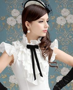 Women Stand-up Collar OL Multi-layers Flouncing Black Bow White Shirts Tops Bow Shirts, White Shirts, Shirt Blouses, Sexy Blouse, Mode Hijab, Mori Girl, Beautiful Blouses, Mode Vintage, Victorian Fashion