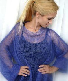 Crochet Lovey Free Pattern, Crochet Tunic Pattern, Crochet Shirt, Crochet Cardigan, Knit Dress, Knit Crochet, Knitting Designs, Knitting Patterns, Yarn Bag