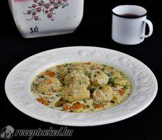 Tárkonyos halgombóc leves Chicken, Food, Essen, Meals, Yemek, Eten, Cubs