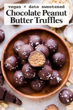 Vegan and date sweetened truffles! These Chocolate Peanut Butter Truffles are decadent, delicious, and made with just FOUR super simple + clean ingredients. They're gluten-free, vegan, and sweetened with dates. #vegan #glutenfree Peanut Butter Dessert Recipes, Peanut Butter Truffles, Peanut Butter Candy, Vegan Dessert Recipes, Gluten Free Desserts, Chocolate Peanut Butter, Chocolate Desserts, Recipes Dinner, Healthy Vegan Desserts