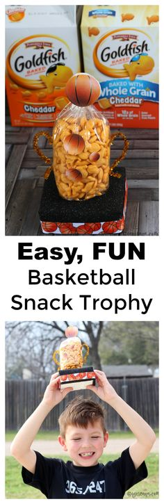 Have fun with the family and practice basketball skills at the same time with these basketball games for kids. Celebrate the winner with a DIY Snack Trophy!  [ad] #GoldfishGameTime #CollectiveBias @walmart