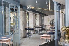 bar à tapas Bocadillo de Jamón y Champan, un lieu hautement sophistiqué situé en plein coeur de Madrid. Signé par le cabinet d'architectes Lucas y Hernandez-Gil
