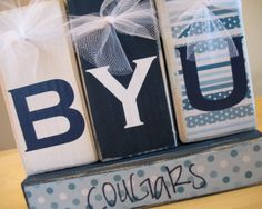 BYU Cougars wood blocks--this links to an etsy shop; I like the idea.