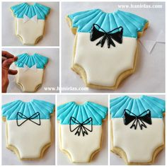 Haniela's: Alice in Wonderland Onesie Cookies, Piping Bows On Cookies Tutorial