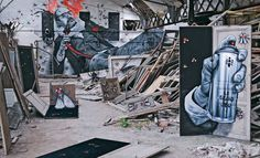 This piece is a collaboration by France's MTO & Iemza. Inspired by the surrealist movement of the same name it references Huxley's Doors of Perception and Baudelaire's Artificial Paradises to create one of the most mind bending art installations we've ever seen. MTO is a giant in the street art scene who keeps his identity strictly anonymous. A true maverick, he never just paints a wall, he gives a space meaning. Here he opens Huxley's doors to the creative use of abandoned space.
