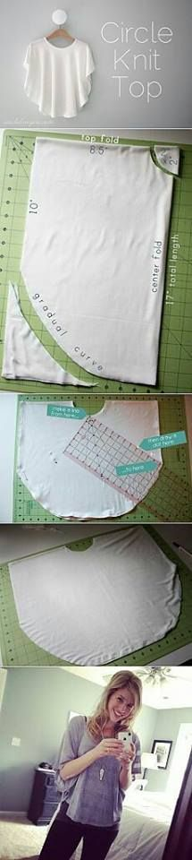 Easy Weekend DIY Projects For Girls Circle Knit Shirt Tutorial Knitting , lace processing is the most beautiful hobbies that girls will not give up. Diy Clothing, Sewing Clothes, Clothing Patterns, Dress Patterns, Sewing Patterns, Maternity Clothing, Knitting Patterns, Dress Sewing, Easy Knitting